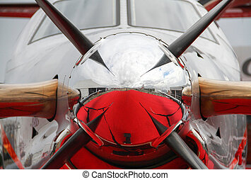 Close up abstract of a vintage airplane propeller engine