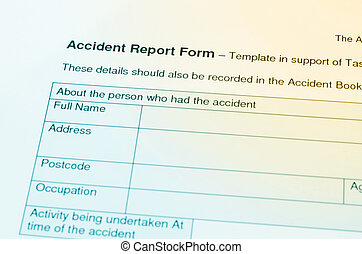 Accident report application form.