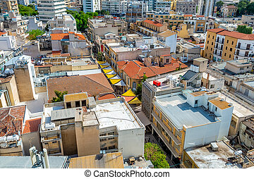 Close up aerial view of Ledra street. Nicosia, Cyprus