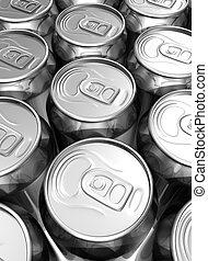 Close up aligned soda cans filling frame
