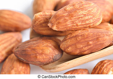 close up almond on white background.