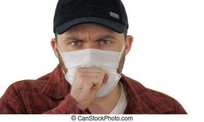 American farmer in medical mask coughing on white background.