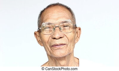 close up An elderly man smiling on isolated