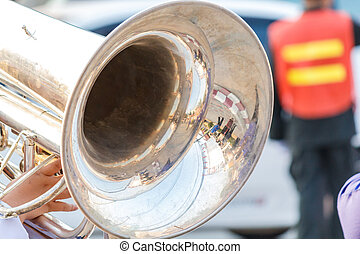 Close up and details of playing musicians, instruments in a marching, show band, music band