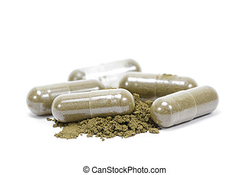 Close up andrographis paniculata herbal antipyretic capsules isolated on white