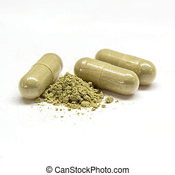 Close up andrographis paniculata herbal in capsule. - Close...
