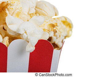 Close-up angle of the box with popcorn isolated on white