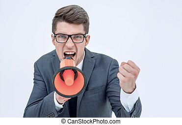 close up. angry businessman with a megaphone