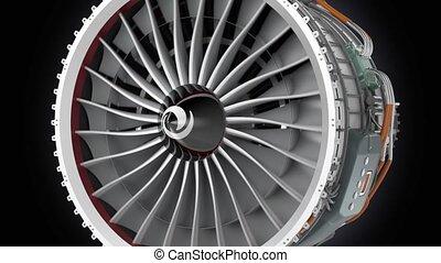 Close up animation of jet engine