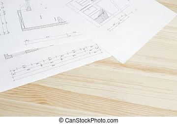 close-up, architecten, blueprint.