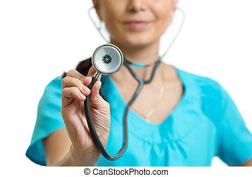 close-up, arts, vrijstaand, stethoscope, achtergrond, witte