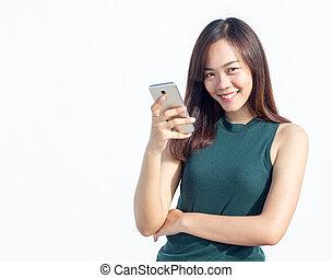 asian Thai girl touch smartphone - close up asian Thai girl...