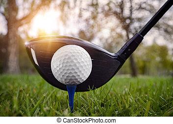 Close up at golf club and golf ball