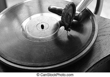 Close up at vintage gramophone. playing old song