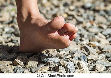 close-up, atividade, andar, nu, ao ar livre, pé, pedras