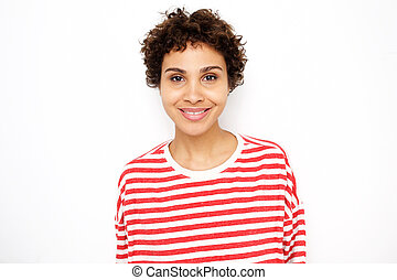 Close up attractive african american woman smiling by white wall