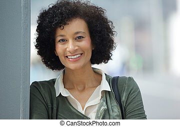Close up attractive older african american woman smiling
