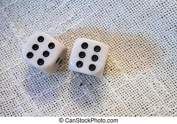 close up backgammon dice