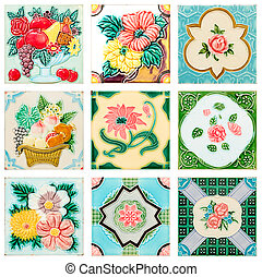 vintage style old tile decorative surface flower