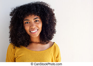 Close up beautiful african american girl smiling
