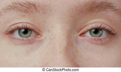 Close-up Beautiful Blue Eye - close up blue eyes blinking...