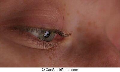 Close-up Beautiful Blue Eye - close up macro eye screen...