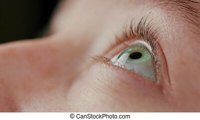 Close-up Beautiful Blue Eye - macro close up eye using...