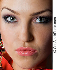 Close-up beautiful face - Close-up luxury face with...