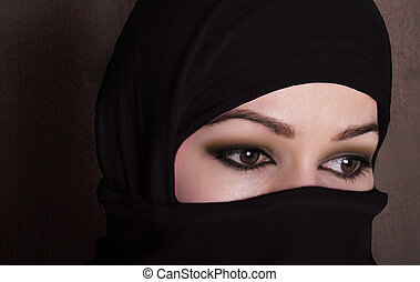 close-up beautiful mysterious eyes eastern woman wearing a...