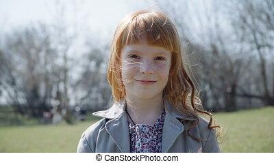 beautiful redhead girl smiling - Close up beautiful redhead...