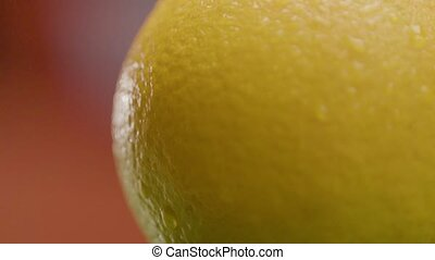 Beautiful Round Yellow Lemon Is Cut In Half - Close-up -...