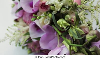 Beautiful Wedding Bouquet Of Lilac Pink Flowers