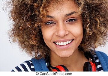Close up beautiful young african american woman smiling