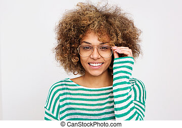Close up beautiful young woman smiling with glasses