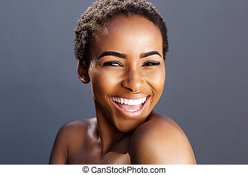 beauty portrait of black female fashion model smiling