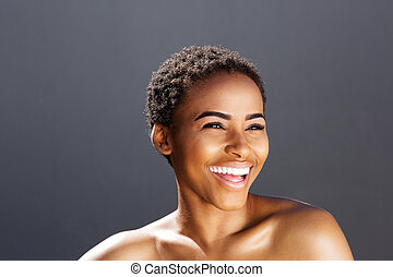 beauty portrait of black female model smiling
