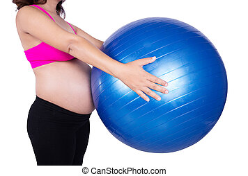 close-up belly of Pregnant woman with fitness ball on white background