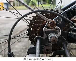 Close up bicycle gear.
