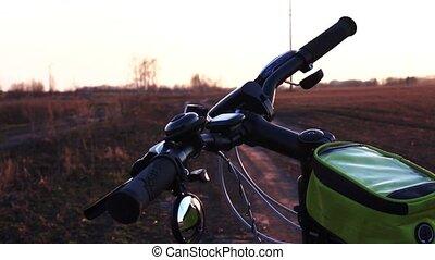 Close up Bicycle's parts, Bicycle handlebars. Bike at...