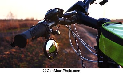 Close up Bicycle's parts, Bicycle handlebars with a mirror....