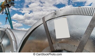 Close up big roll of aluminum at metallurgical plant. Moving...