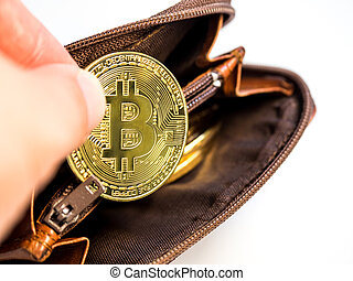 Close up bitcoin gold coins with wallet on the white background. Virtual cryptocurrency concept.