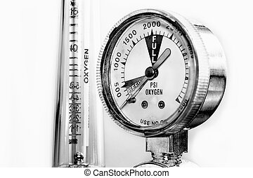 Close-up black and white  scale display of oxygen meter