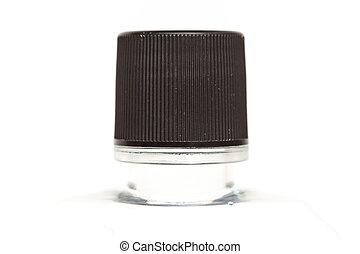 Close up black cap of plastic bottle isolated on white backgroun