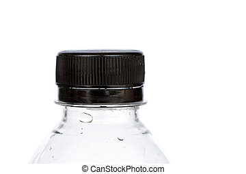 Close up black cap of plastic bottle isolated on white backgroun