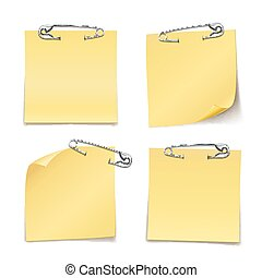 Close up Blank Sticky Notes with Safety Pin on White Background Emphasizing Copy Space for Texts