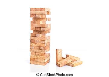 Close up blocks wood game (jenga) isolated on white...