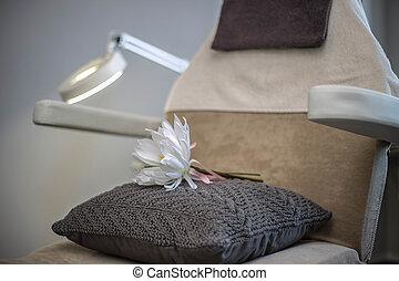 close-up, bloem, kamer, knapheid salon, versiering, spa, stoel