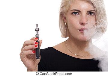 Close up Blond Woman Smoking Using E- Cigarette - Close up ...