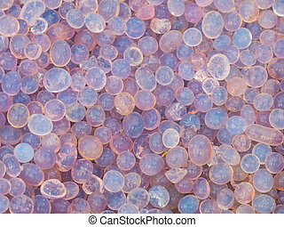 Close up blue and purple silica gel